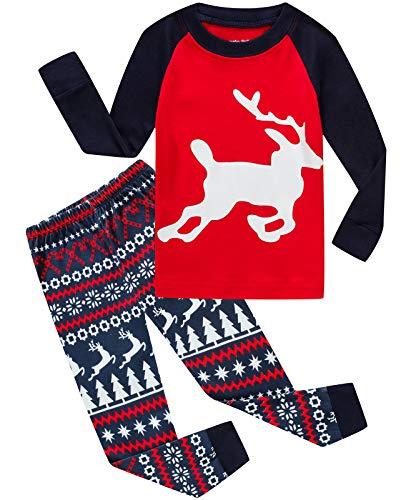 Boys Girls Christmas Pajamas Reindeer Cotton Toddler Clothes Kids Pjs Children Sleepwear Size 7T -
