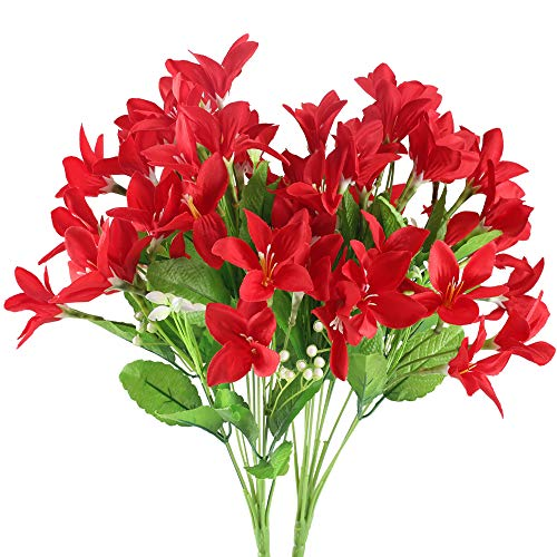 NAHUAA 2PCS Outdoor Artificial Silk Narcissus Flower Bundles Fake Plants Bushes Faux Floral Bouquets Table Centerpieces Arrangements Wedding Home Kitchen Office Decor Spray in Red (Floral Artificial)