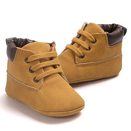 Voberry Toddler Baby Boy's Leather Sneaker Shoes Lace up Snow Boots Warm (0~6Month, Khaki) by Voberry (Image #2)