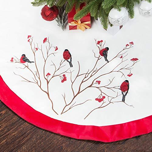 Skrantun 48 Inch Christmastree Skirt Red and White Velvet Cardinals