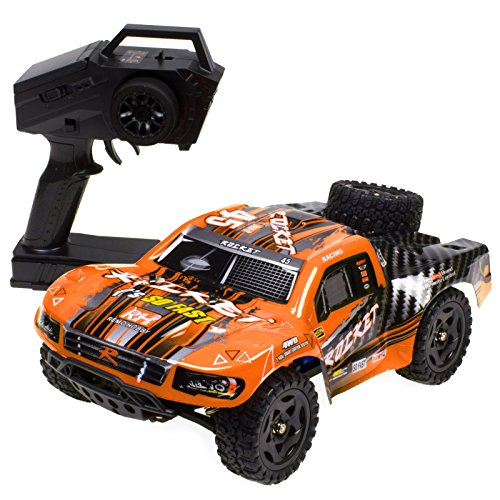 t RC Truck 1:16 2.4Ghz 4WD Remote Control Car High Speed Off-road Short Course Truck Orange ()