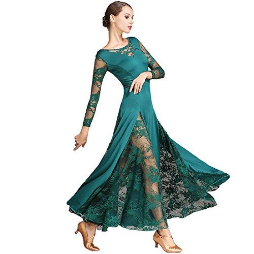 - Lace Dress Waltz Dance Skirt Dress Modern Dance Dress National Standard Dress Cha Cha Skirts Ballroom Skirt Green M