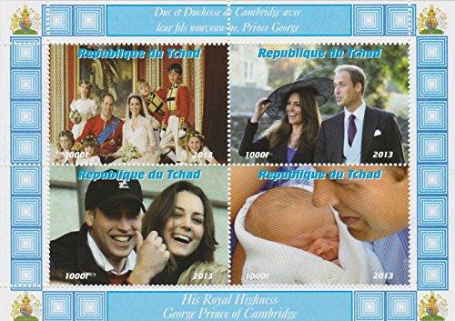 Chad - 2013 William & Kate Wedding, Prince George 4 Stamp Sheet 3B-239