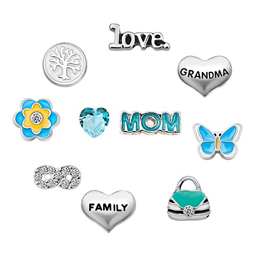 Q&Locket Mom Grandma Family Tree Floating Charms For Glass Living Memory Lockets Necklace &Bracelet (Style1)
