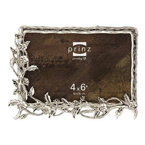 Prinz Wilder Antique Silver Metal Frame with Floral Accents, 4 by 6-Inch