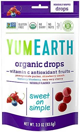 YumEarth Organic Vitamin C Antioxidant Fruit Drops, 3.3 Ounce (Pack of 6)