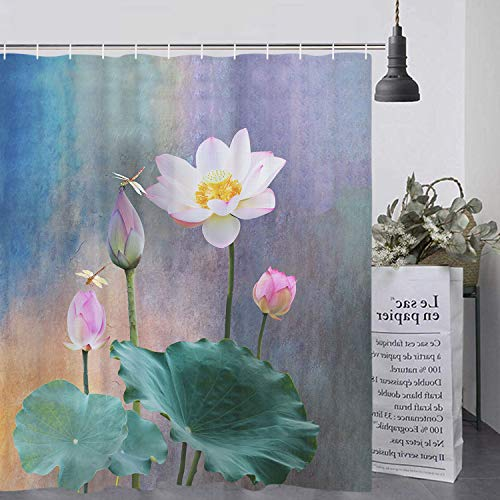 Lotus Flower Shower Curtain Dragonflies on Lotus Shower Curtain Set with 12 Hooks, Durable Waterproof Bath Curtain