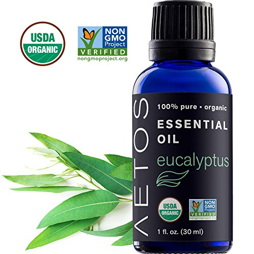 Aetos Organic Eucalyptus Oil, USDA Certified Organic Essential Oils, Non GMO, 100% Pure, Natural, Therapeutic Grade Essential Oil, Best Aromatherapy Scented-Oils for Home, Office, Personal Use - 1 Oz