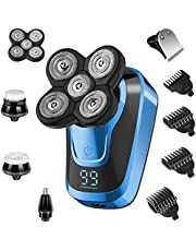 Electric Rotary Shavers for Men, Bald Head Razor Waterproof Rechargeable Hair Clippers Wet Dry Hair Trimmers Multifunctional Grooming Kit with Nose Hair Trimmer and Facial Cleaning Brush