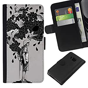 YiPhone /// Tirón de la caja Cartera de cuero con ranuras para tarjetas - La bolsa de trucos - HTC One M9