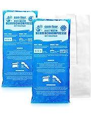 COM-FOUR® 2x stora multipla kompresser med premium återanvändbart fleeceöverdrag, kalla och varma kompresser med gel cool pack, skyddskåpa med elastiskt band, 29 x 12 cm - mikrovågssäker
