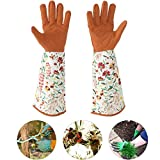 Long Gardening Gloves,Long Sleeve Leather Gardening Gloves Hands Protector Floral Yard Gloves for Women Ladies Yard Pruning Trimming Use (1 Pair)