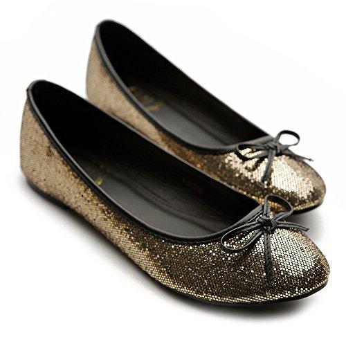 Flat Color Women's Round Comfort Ollio Shoe Ballet Gold Multi Toe Glitter 86cSzx