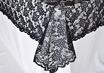 54 in x 108 in Lace Table Overlays, Lace Tablecloths Rectangle, Rectangular Lace Table Overlay Linens, Lace Table Toppers for Wedding Decorations, Events Banquet Party Suppliess - Black