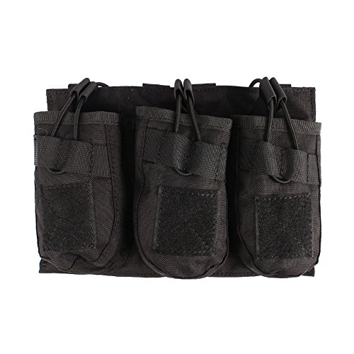 Outry AK Magazine Pouch Mag Holder - Triple/Double/Single MOLLE Mag Pouch (Triple - Black)