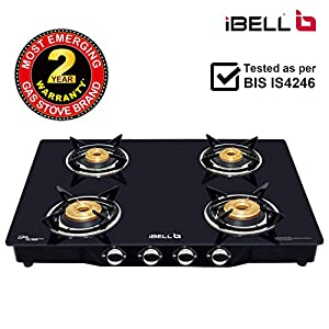 iBELL Mecano GB7414DBMS Premium 4 Burner Glass Top Gas Stove with Rust Proof MS Body,1+1 Year Warranty, Black