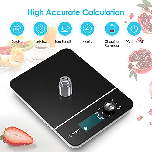 LOFTER Digital Food Scale, Multifunction Food Scale with LCD Display, Kitchen Scales Weight Grams and Oz for Cooking Baking, 1g/0.1oz Precise Graduation, Tempered Glass Surface, Battery Included