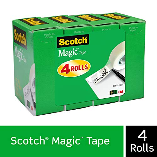 Scotch Magic Tape, Numerous Applications, Invisible, Cuts Cleanly, Engineered for Office and Home Use, 3/4 x 1000 Inches, Boxed, 4 Rolls (810K4)
