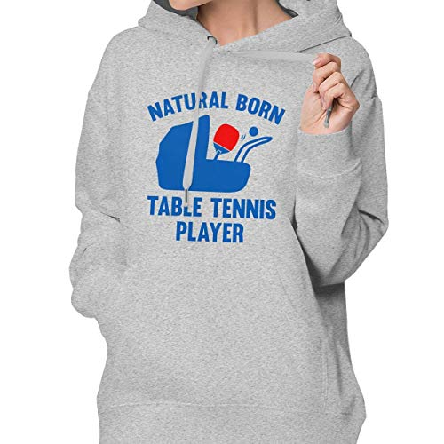 RS-pthrAC Women's Pullover Hoodie Table Tennis Evolution Natural Sweater Shallow Sweater Long-Sleeved with Pocket Gray ()
