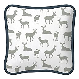 Carousel Designs Navy and Gray Deer Decorative Pillow Square