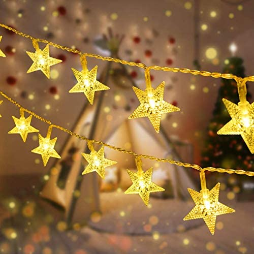 LED Tenda Luminosa,VIFLYKOO Star Fata Luci Catena Luminosa Luci Stringa Bianco Caldo 8 Modalità Impermeabili IP44 Decorative per Esterni,Natale,Party [Classe di efficienza energetica A++]