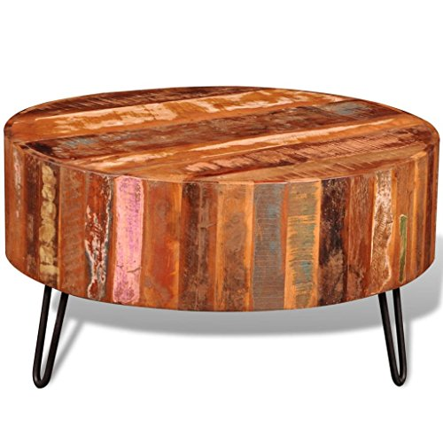 vidaXL Antique Round Cocktail Coffee Table Reclaimed Solid Wood Living Room Furniture from vidaXL