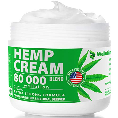 Hemp Cream 80000 mg Blend - All-Natural Seed Oil Extract for Knee, Lower Back, Feet, Wrist and Joint Pain Relief - Extra Strength Massage Lotion with Arnica, Menthol and Organic Oils