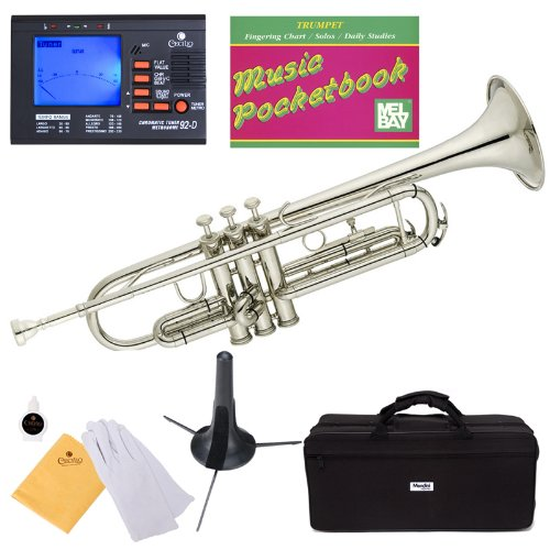 Mendini MTT-N Nickel Plated Bb Trumpet + Tuner, Case, Stand, Mouthpiece, Pocketbook & More by Mendini by Cecilio (Image #9)