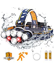 Gifts for Men,Headlamp, Rechargable Headlamp Flashlight 8 LED 20 modes Headlight with White Red Lights Waterproof HeadLamps for Adults Camping Hunting Running Fishing Outdoors Hard Hat Work