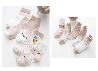 SYEEGCS Calcetines de algod/ón reci/én nacido para ni/ños peque/ños 5 pares Calcetines de tobillo respirable delgado el/ástico suave precioso lindo Patr/ón de conejito
