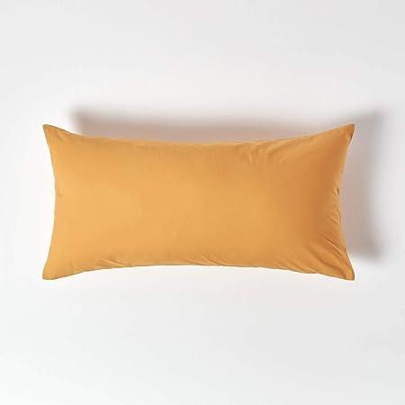 Homescapes - Funda de almohada 100% algodón egipcio de 200 hilos, algodón, amarillo mostaza, 40 x 80 cm: Amazon.es: Hogar