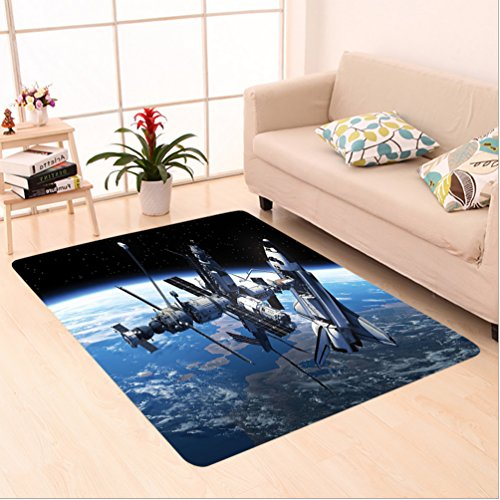 8' American Blue Green Pool (Nalahome Custom carpet r Space Shuttle and Station View Cosmonaut Adventure on the Myst Globe Orbit Off Blue Grey Black area rugs for Living Dining Room Bedroom Hallway Office Carpet (6' X 9'))