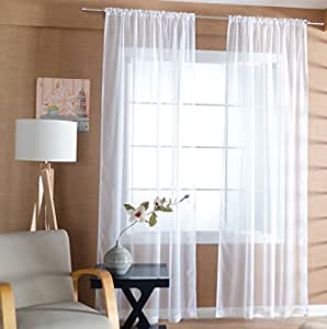 Tiyana solid white sheer curtains rod pocket drapes panel window treatment tulle - Amazon curtains living room ...