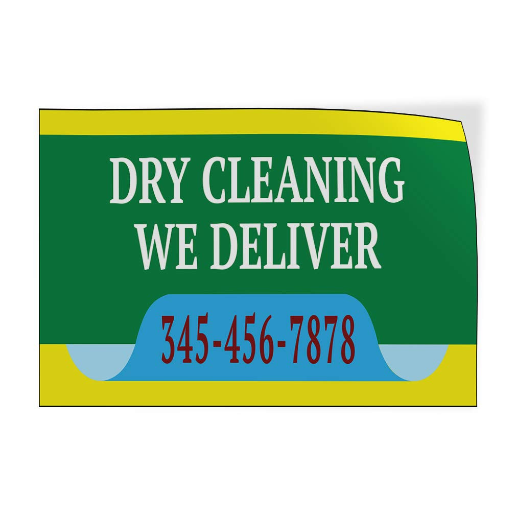 Custom Door Decals Vinyl Stickers Multiple Sizes Dry Cleaning We Deliver Phone Number Business Dry Clean Outdoor Luggage /& Bumper Stickers for Cars Green 34X22Inches Set of 10