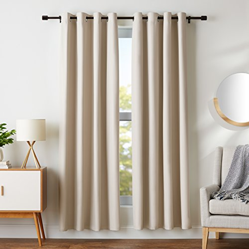 "AmazonBasics Room Darkening Blackout Window Curtains with Grommets  - 52"" x 84"", Beige, 2 Panels"
