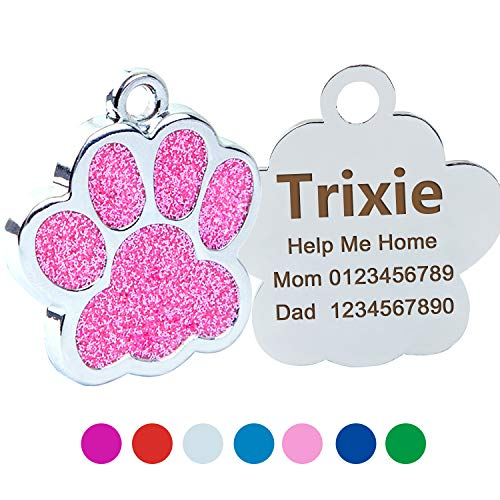 Custom Glitter Dog Cat ID Tags,Elagent Paw Printed Small Medium Doggie and Kitten Tag,Laser Printed,Paw Shaped