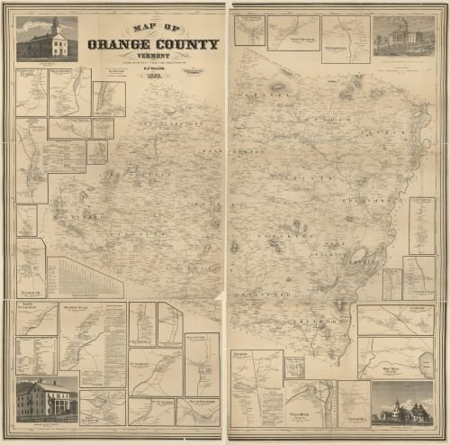 1858 Map of Orange County, Vermont - Size: 24x24 - Ready to Frame - Orange County | Vermont | Orange