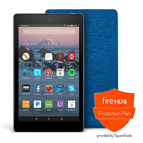 Fire Hd 8 Protection Bundle With Fire Hd 8 Tablet  32 Gb  Black   Amazon Cover  Marine Blue  And Protection Plan  3 Year