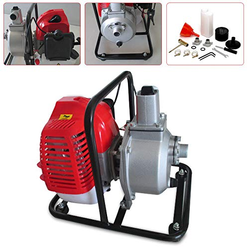 BoTaiDaHong 43cc Water Pump 2HP Air-cooled 2 Stroke Engine Single Cylinder Gas Petrol High Flow Petrol Water Transfer Pump for Well Pump Home Garden Lawn etc