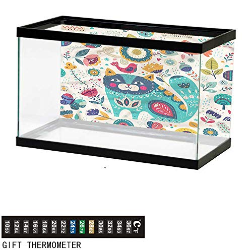 (bybyhome Fish Tank Backdrop Cat,Cat Figure with Birds,Aquarium Background,36