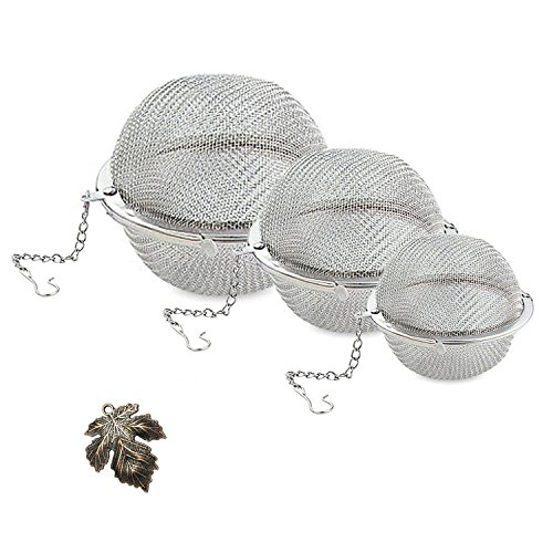 Stainless Steel Tea Infuser - JamHoo Set of 3 Size (S/M/L) Ultra Fine Mesh Tea Balls With Retro Maple Leaf Hanging Charms for Cozy Tea Time - Durable and Rust Resistant