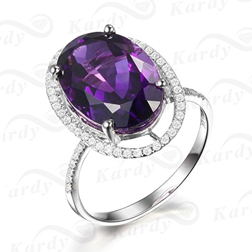 Rare 4.56 ct Natural Amethyst Ring with South Africa Diamonds of 27 Points Gemstone Rings for Women by Kardy