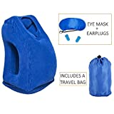 HAOBAIMEI Inflatable Travel Pillow, Scientifically Proven Super Soft Head Neck Support Travel Pillow, Multifunctional And Portable Pillow For Airplane,Car,Office Napping and Camping (Blue)