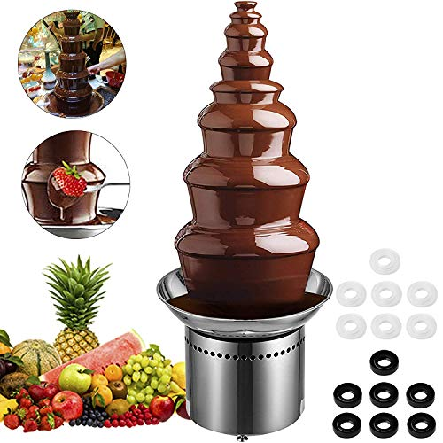 Fountain Chocolate Double (Mophorn Commercial Chocolate Fountain 7-Tier Stainless Steel Chocolate Fountain Machine for Wedding Parties)