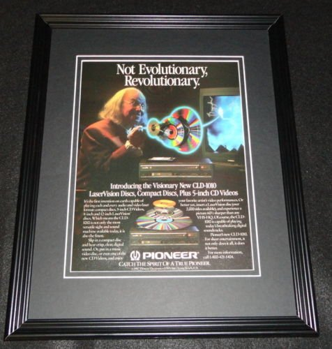 1987 Pioneer Laservision Discs Framed 11x14 ORIGINAL Advertisement Ben Franklin