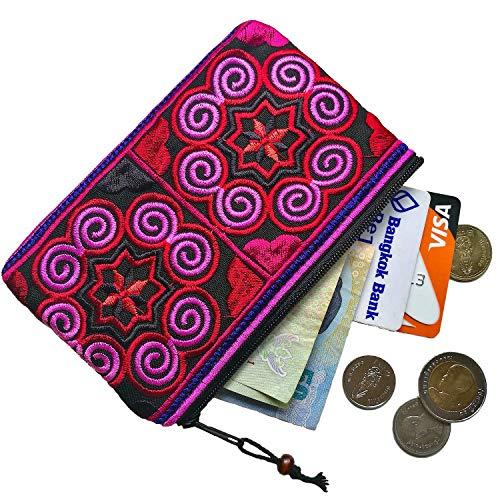 (Sabai Jai - Handmade Coin Purse - Small Embroidered Boho Change Purse Pouch )