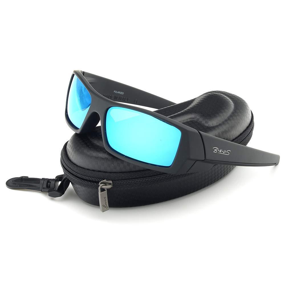1394c090fd0 Amazon.com  tItaly made corning glass lenses blue mirrored sunglasses for  men (Black Rubber Blue Mirrored Polarized
