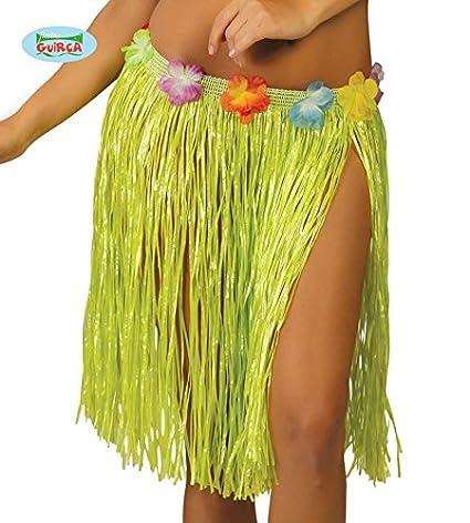 d60ef216d Guirca Falda Hawaiana con Flores de 45cm Verde - Faldas y Pantalones ...