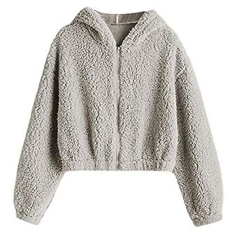 ZAFUL Women's Hooded Zip Up Faux Shearling Fluffy Teddy Jacket Coat (Light Gray, S)