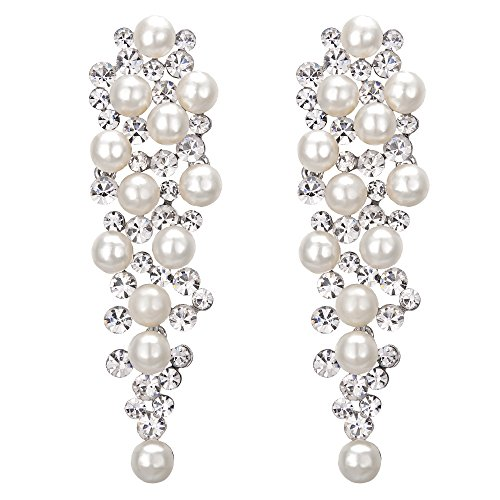 BriLove Silver-Tone Dangle Earrings Simulated Pearl Crystal Women's Wedding Bridal Multi Beaded Cluster Chandelier Earrings Clear Ivory Color
